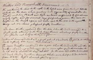 Journal page from explorer James Cook